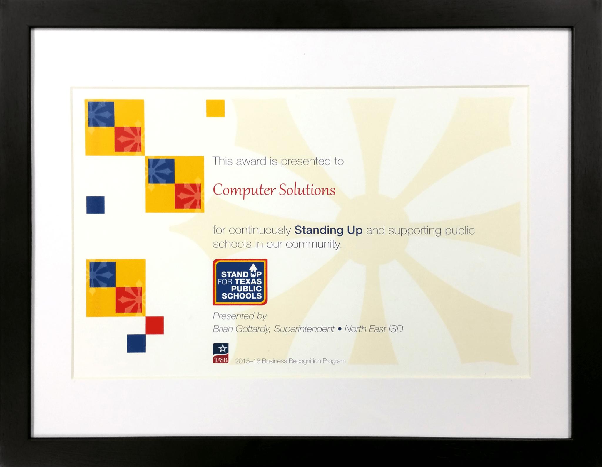 Texas Association of School Administrators' School Board Award Computer Solutions