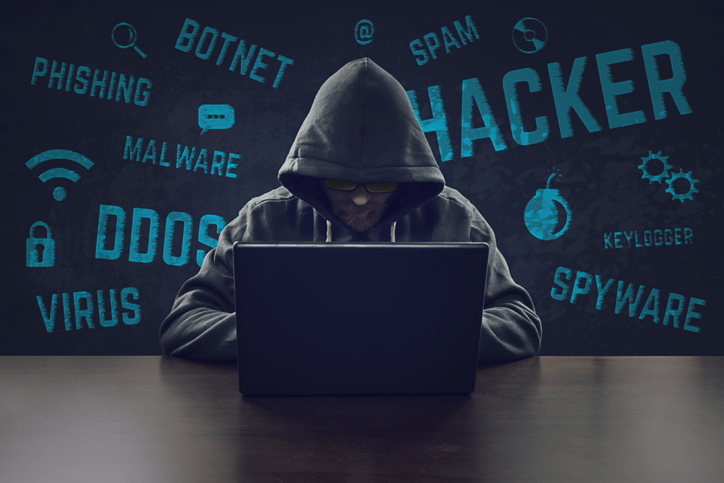 hacker using malware botnet spyware to break security