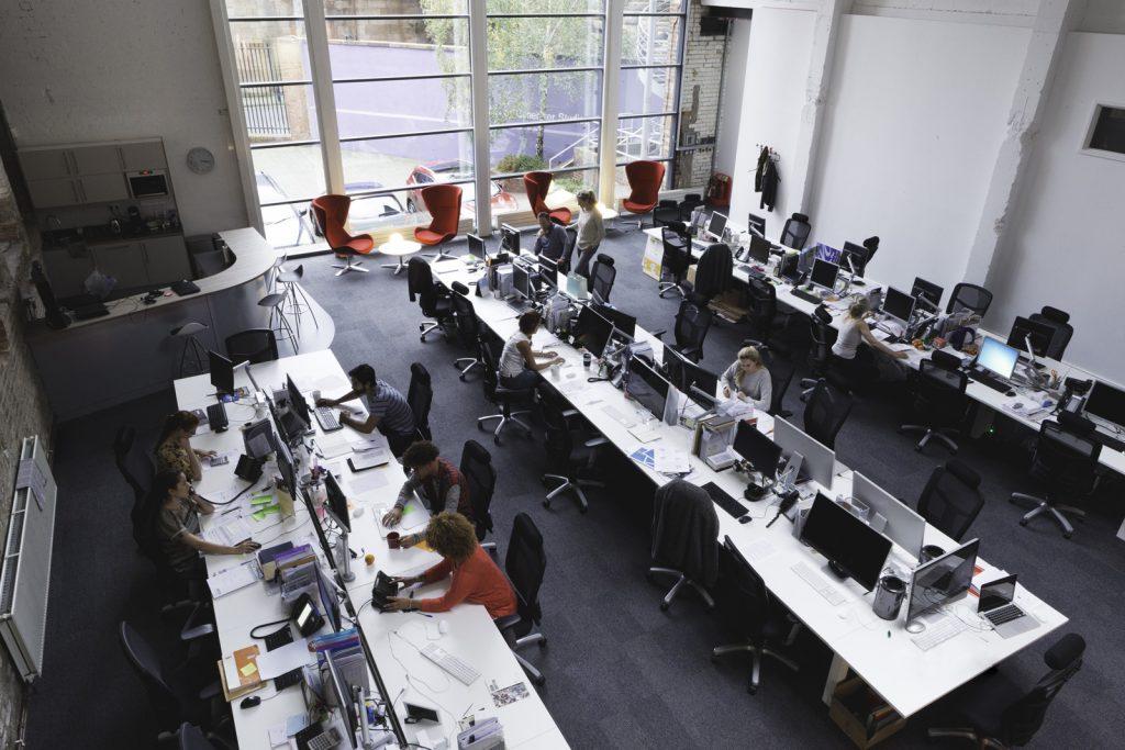 Tech office overhead shot